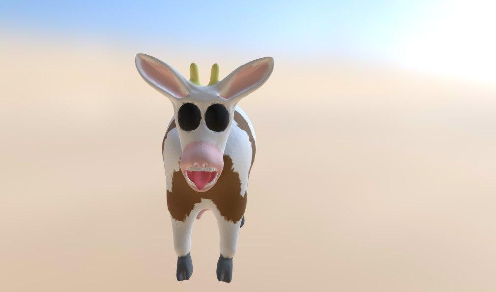 3d model of cartoon cow