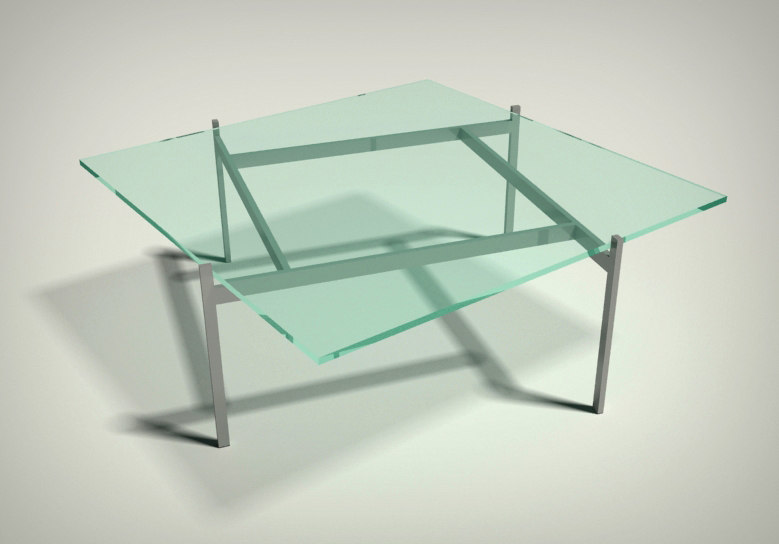 3d model modern glass table