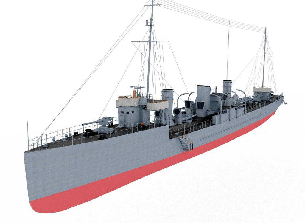 3d model destroyer type novik