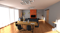 livingroom black wood 3d 3ds