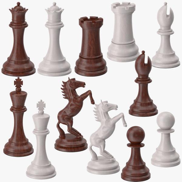 3d chess pieces set