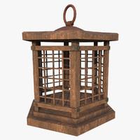 japanese lantern wood 3d model