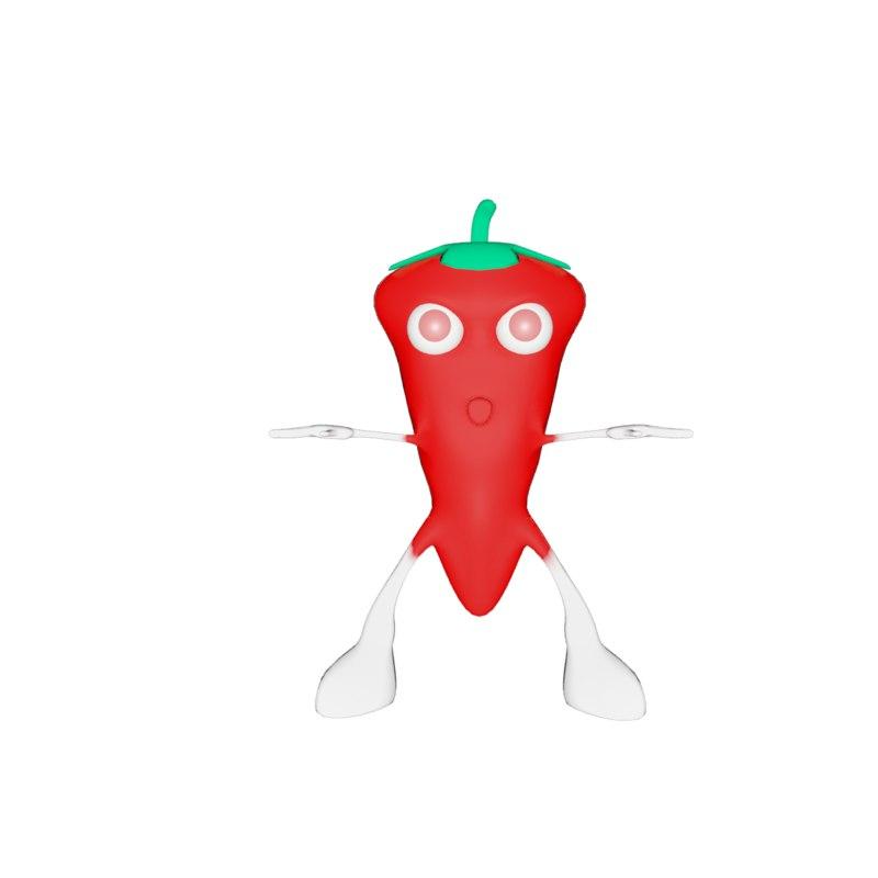 3d cartoon chili model