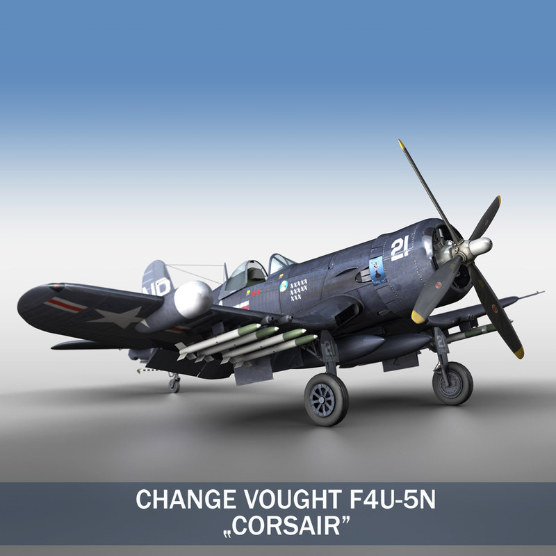 3d model of fighter vought f4u corsair