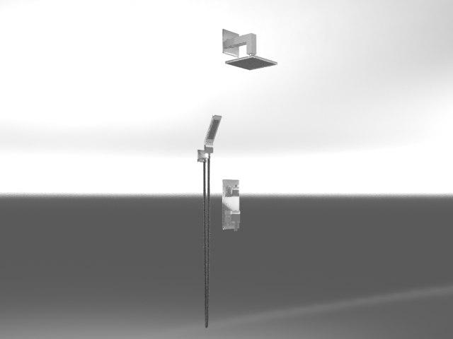 3d chrome shower set model