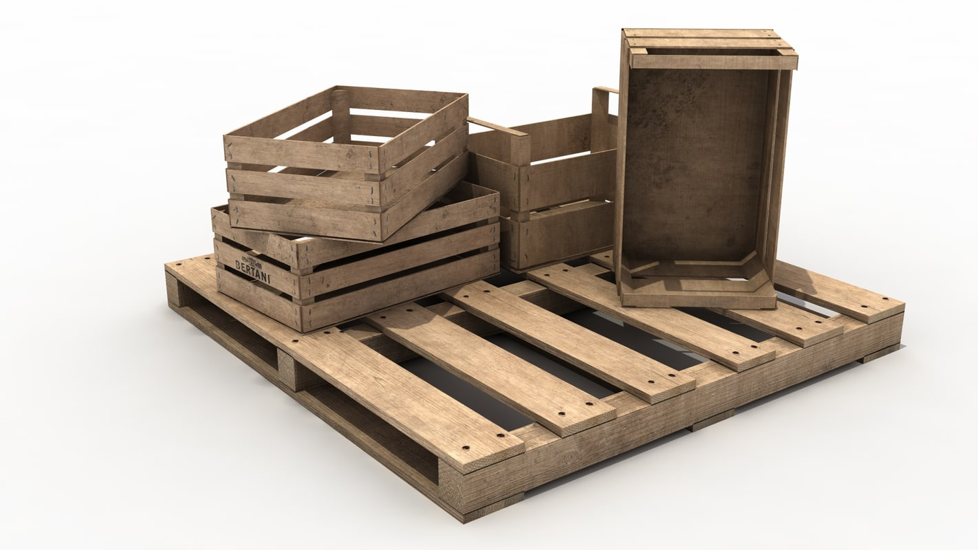 wooden fruit crates pallet fbx