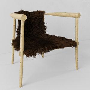 3d max chair fur hair