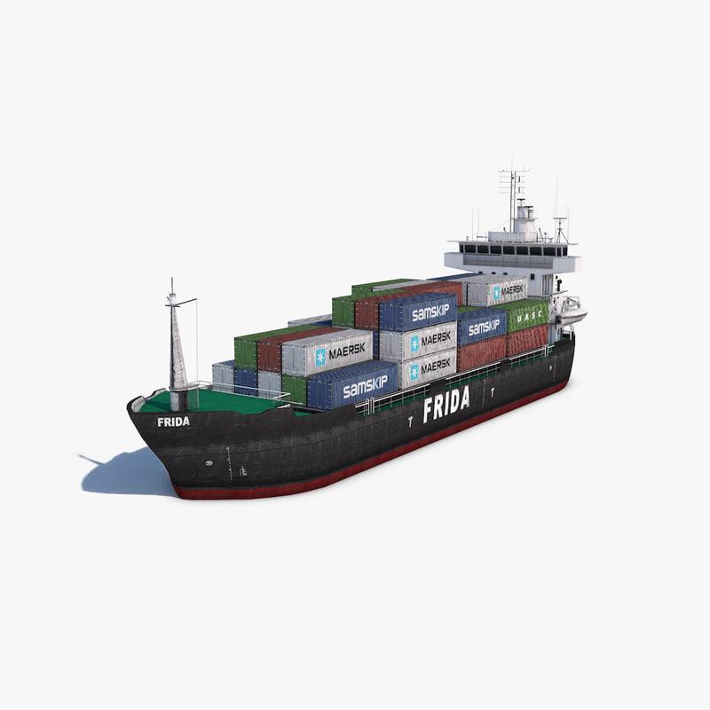 3d 3ds cargo ship
