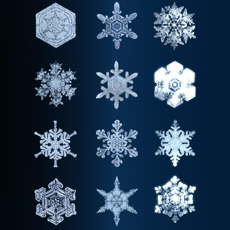 3d 3ds snow flakes