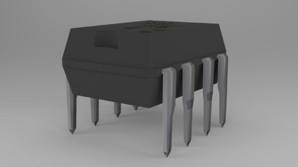 free attiny85 microcontroller 3d model