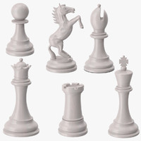 chess pieces white 3d max
