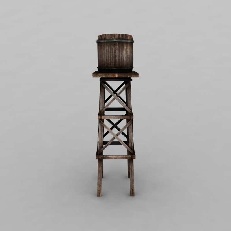 wooden water tower 3d model