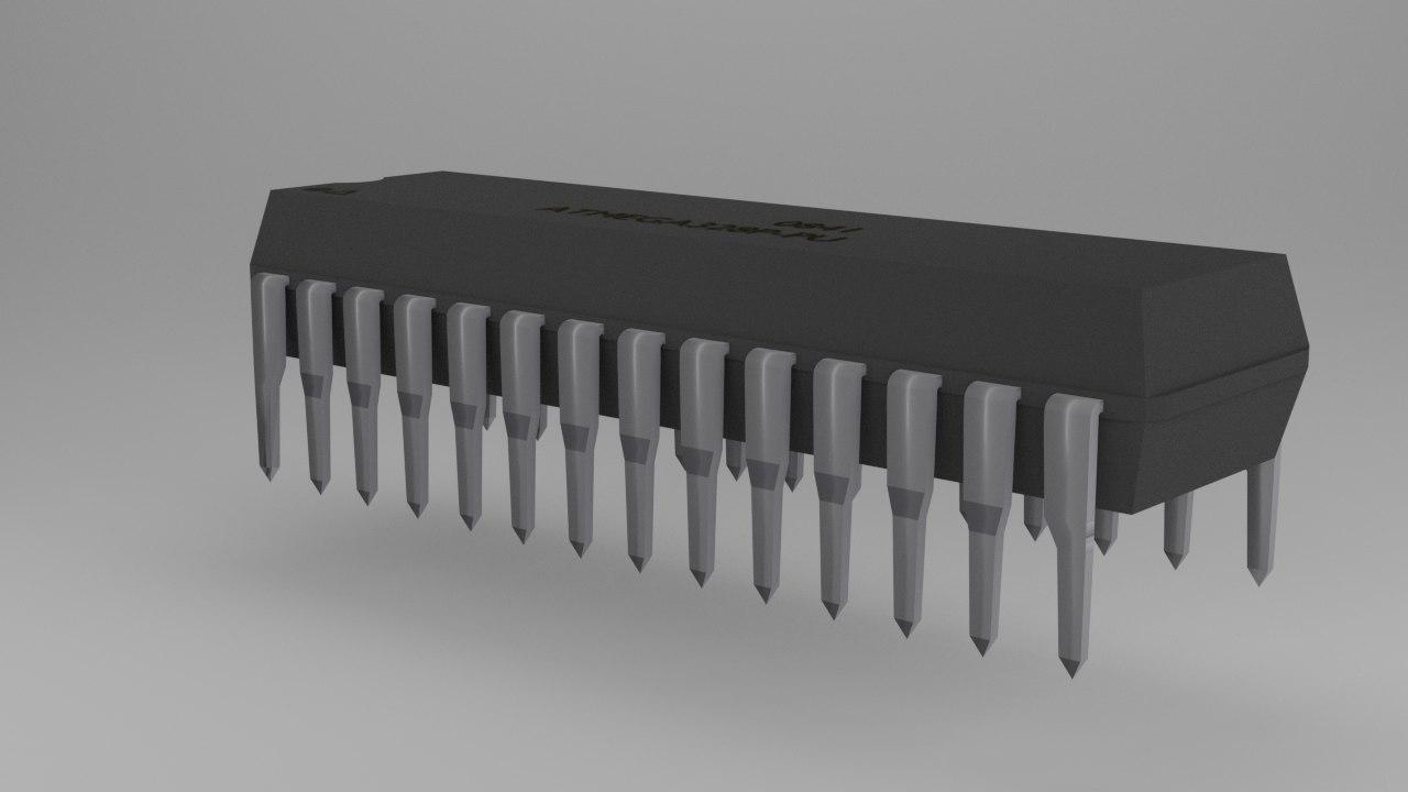 free atmega atmel microcontroller 3d model