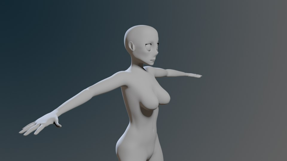 generic female anime polys 3d obj