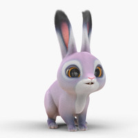 3d max cute cartoon rabbit fur