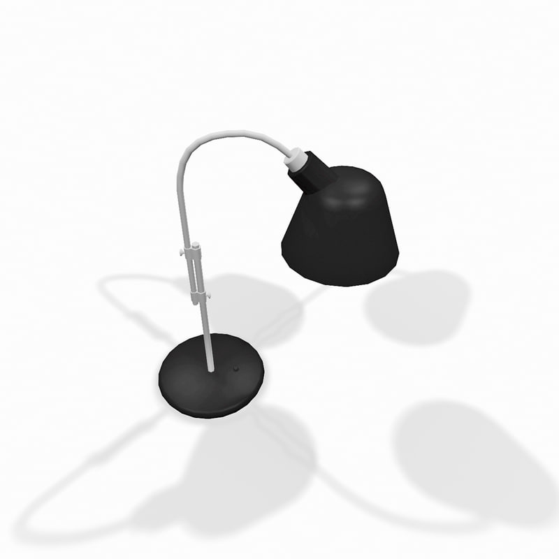 black metal desktop lamp 3d model