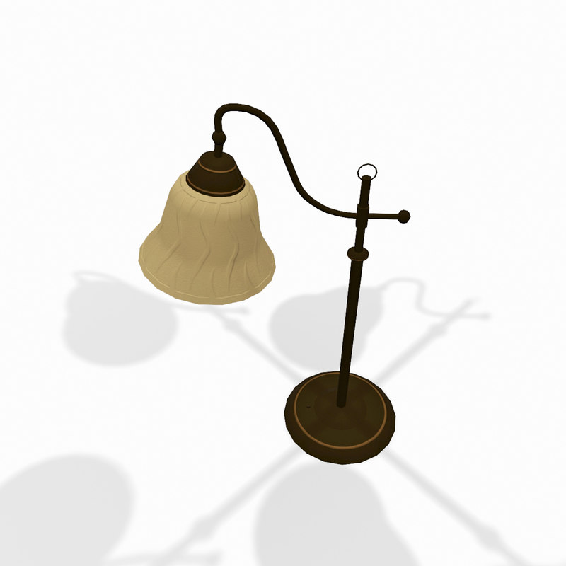 classic wooden desktop lamp 3d model