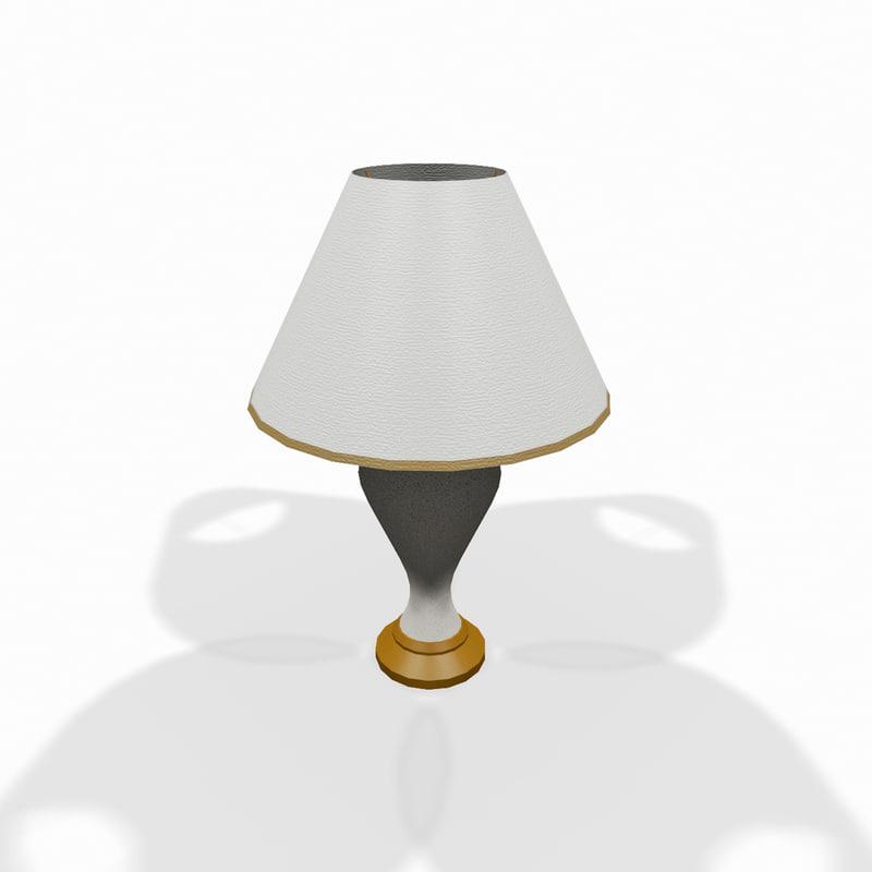 3d model white wooden lamp