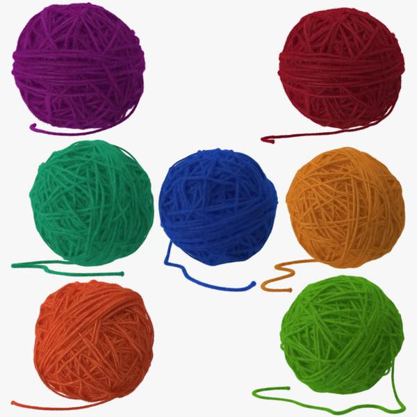 7 balls yarn 3d model