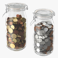 glass jars dollar euro c4d