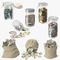 3d money bags jars