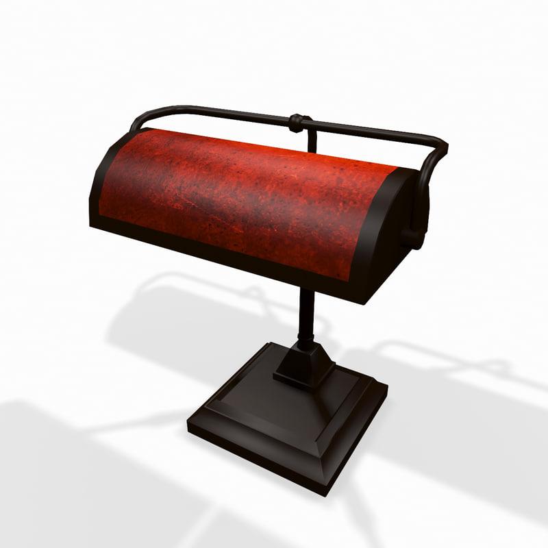 classic wooden desktop lamp 3d model