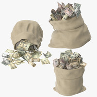 money bags open 3d model