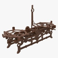 3d antique cast iron scales