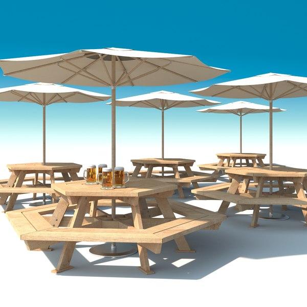 outdoor furniture: exterior picnic 3d model