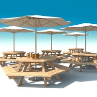 outdoor furniture: exterior picnic 3d model