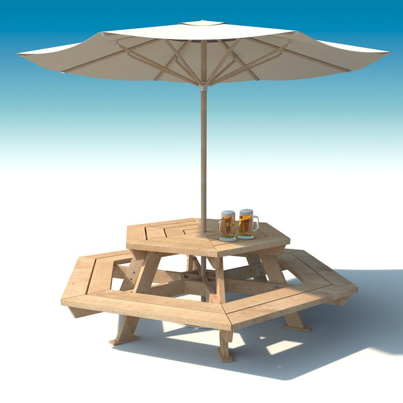 Outdoor Furniture Exterior Picnic D Model - Picnic table parasol