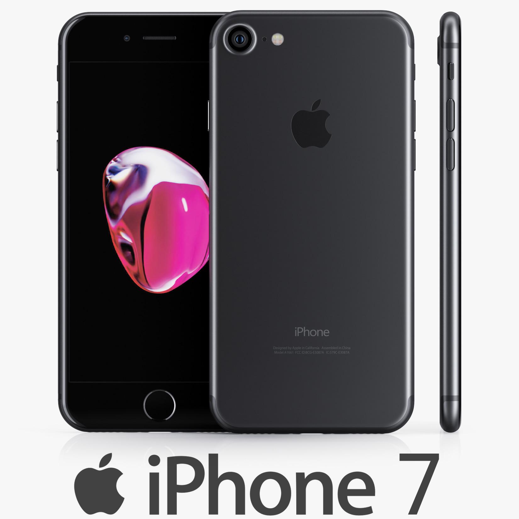 3d apple iphone 7 black model