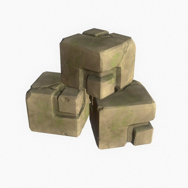 3d model cartoon ancient ruined cube