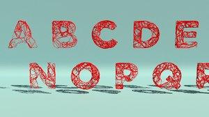 3d alphabet splines model