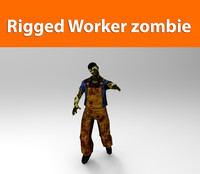 zombie worker low poly game ready