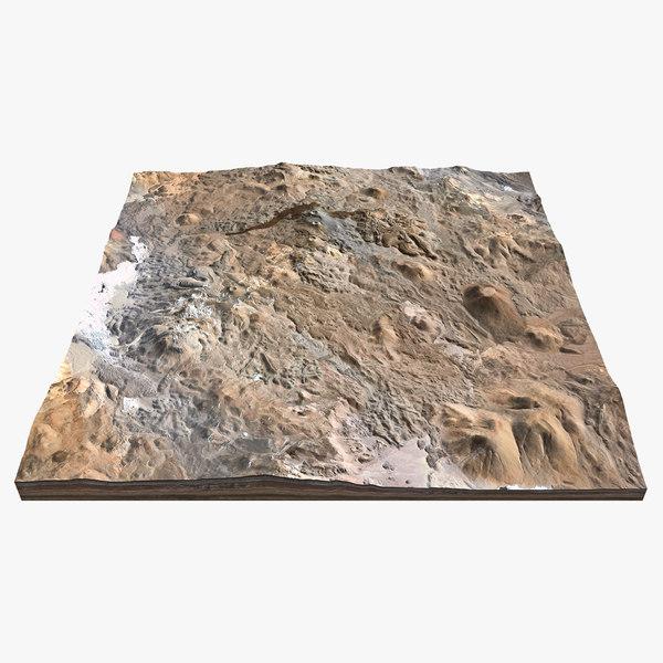 desert landscape lava flow 3d model