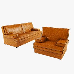 3d model modern leather sofa armchair
