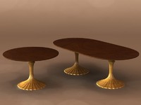 flute dining table 3d 3ds