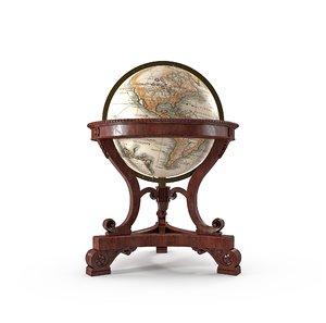 3d model antique globe office