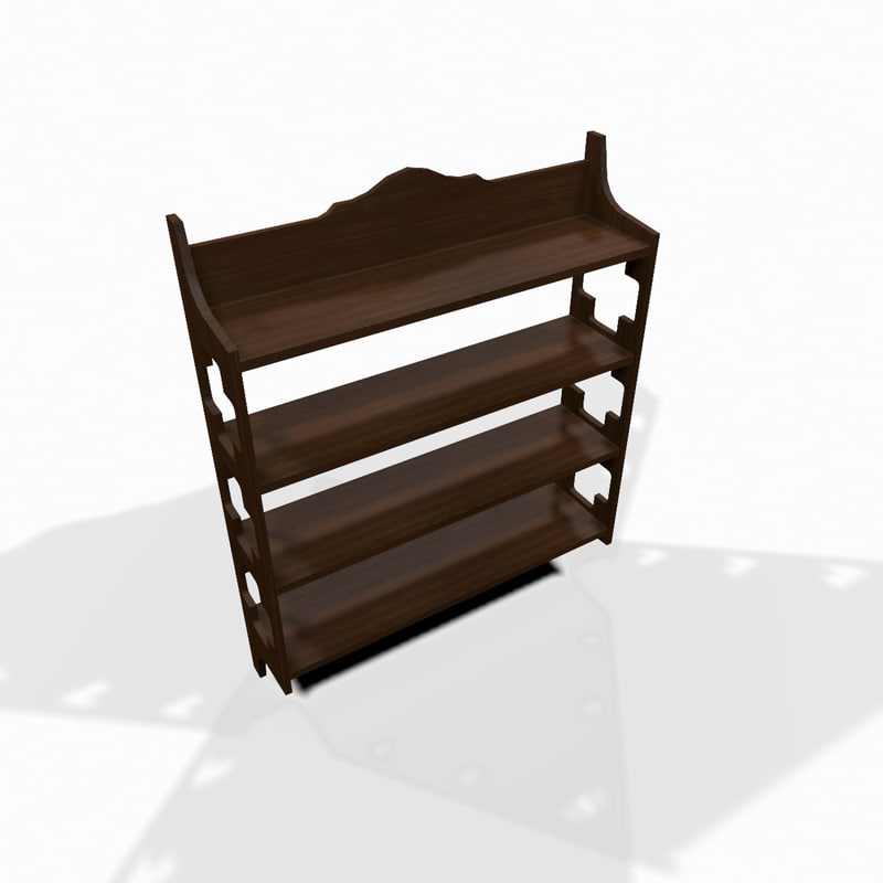decorative wooden wall shelf 3d model