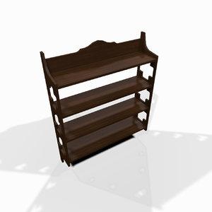 decorative wooden wall shelf 3d model