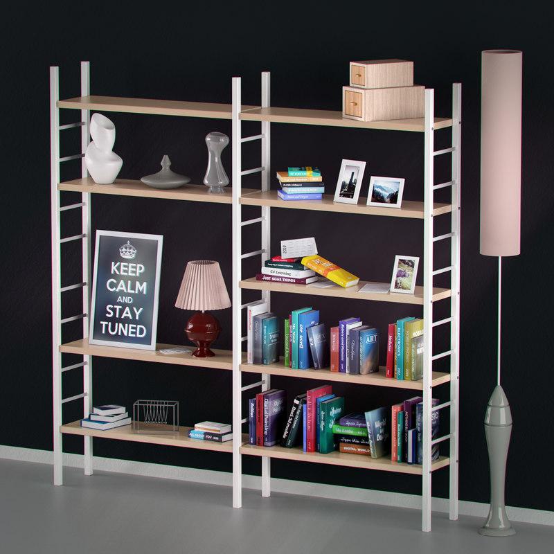 3d model real objects shelf books