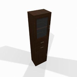 3d model narrow wooden shelf