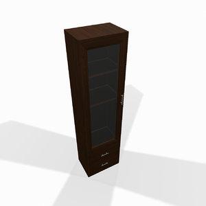 3d model of narrow wooden shelf