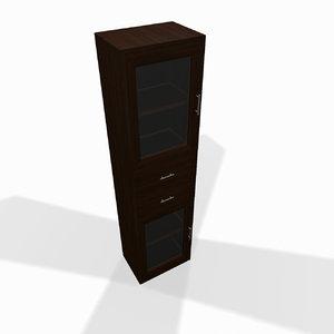 3d 3ds narrow wooden shelf