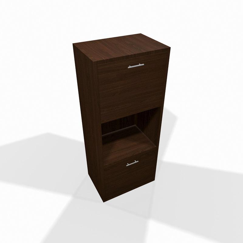 3d model simple wooden shelf wood