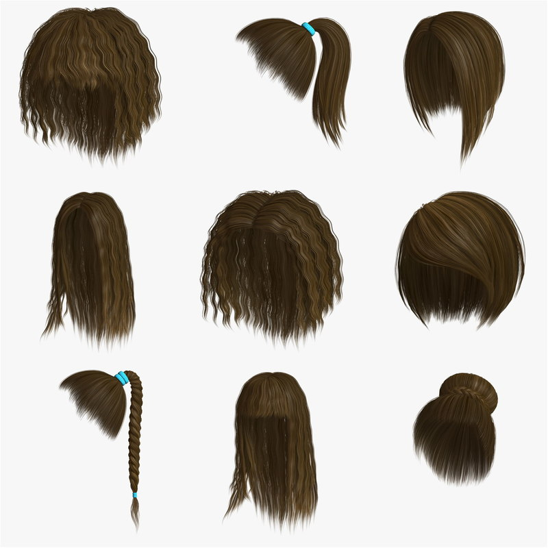 3d model of hair character blond