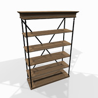wooden storage shelf 3d 3ds