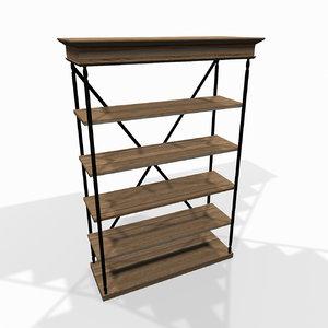 wooden storage shelf 3d 3ds