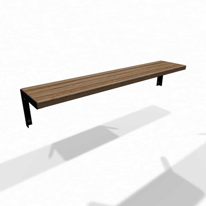 wooden wall storage shelf 3d obj